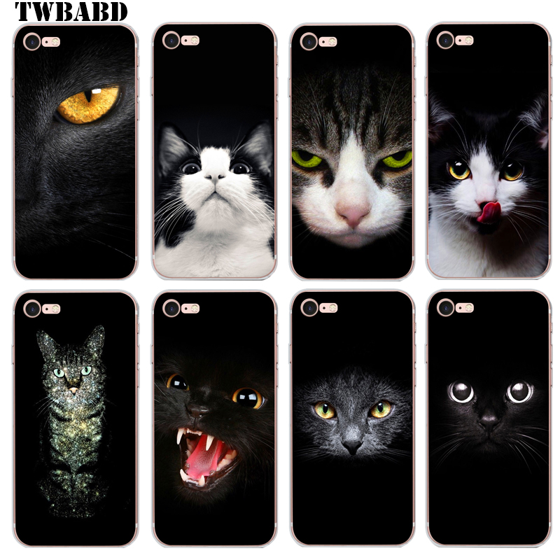 <font><b>Coque</b></font> For iPhone 8 Plus 6S 7 Plus 5 5S <font><b>5C</b></font> <font><b>phone</b></font> case Black Cat for fundas iPhone 6S Capa