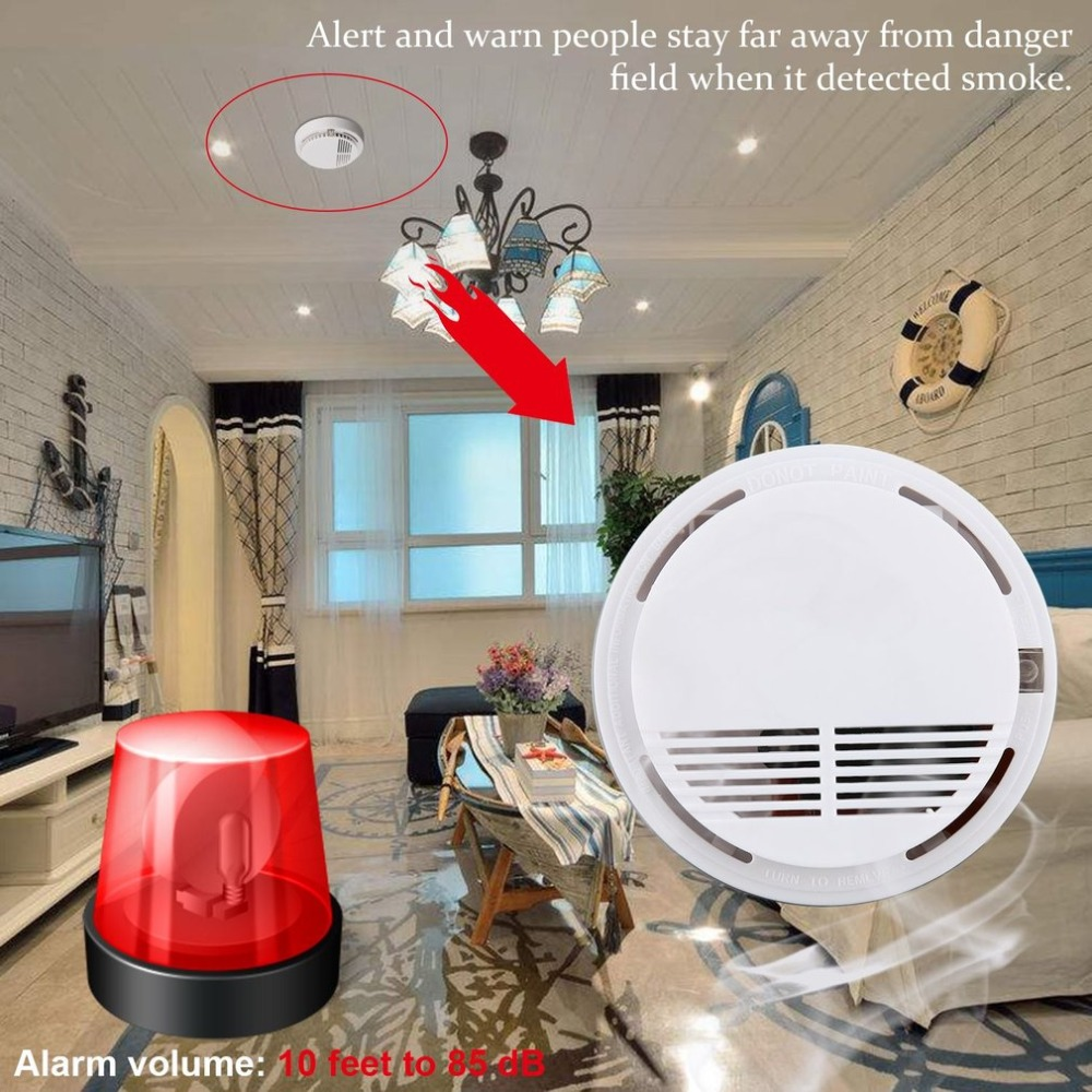 85dB Fire Smoke Detector Protection Alarm Sensor Independent Cordless Smoke Monitor For Home Office Security Family Guard