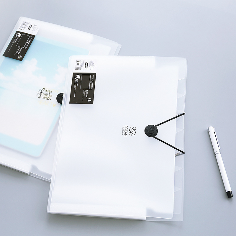Elastic Closure Folder A4 5 /8 /12 Layer Fichario Translucent Scrub Simple Style File Folder Office Shool Filing Products 1Piece