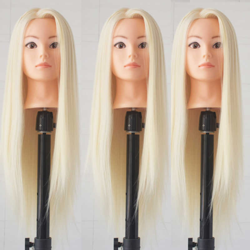 "Hotsale 26"" Hair Styling Training Head Female Mannequin Manikin Head Synthetic Fiber Hair Cosmetology Doll Head With Desk Holder"