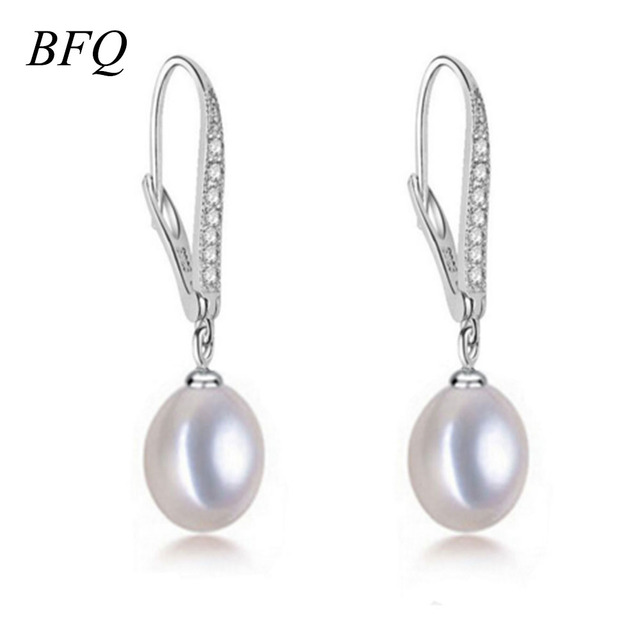 BFQ Pérola das Mulheres Brincos de Prata 925 Brincos de Pérolas de Água Doce Marca Fine Jewelry