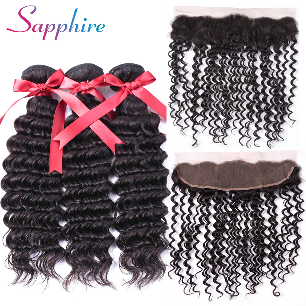 Sapphire Hair 3 Bundles Brazilian Deep Wave With Frontal 13*4 Free Part Ear to Ear Lace Frontal Non Remy Human Hair