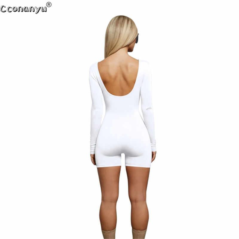 2019 Весна Playsuit для женщин пикантные с длинным рукавом короткий комбинезон женское боди, комбинезон черный, белый цвет для