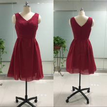 Custom Colors Cheap Bridesmaid Dresses Short V-Neck Burgundy Color Chiffon Ruffles Wedding Guest Dresses Prom Party Gown BM09