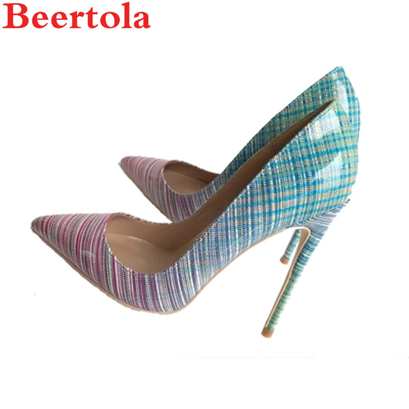 12 Haute Lady 8 33 Cm Pompes Grande 10 Pu Pointu 44 De Stilettos Picture Bout 8cm 12cm Femme Talons Beertola As Taille Mariage Bande Gradient Chaussures Partie 10cm wAIxxY