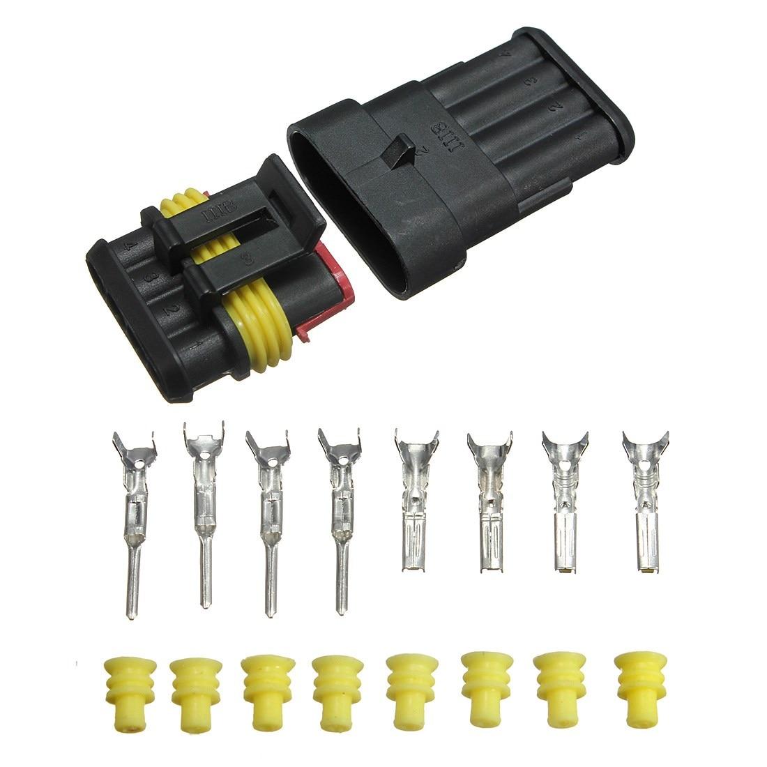 Brand New Car 4 Pin Way Sealed Waterproof Electrical Wire Connector Plug Set Truck Caravan