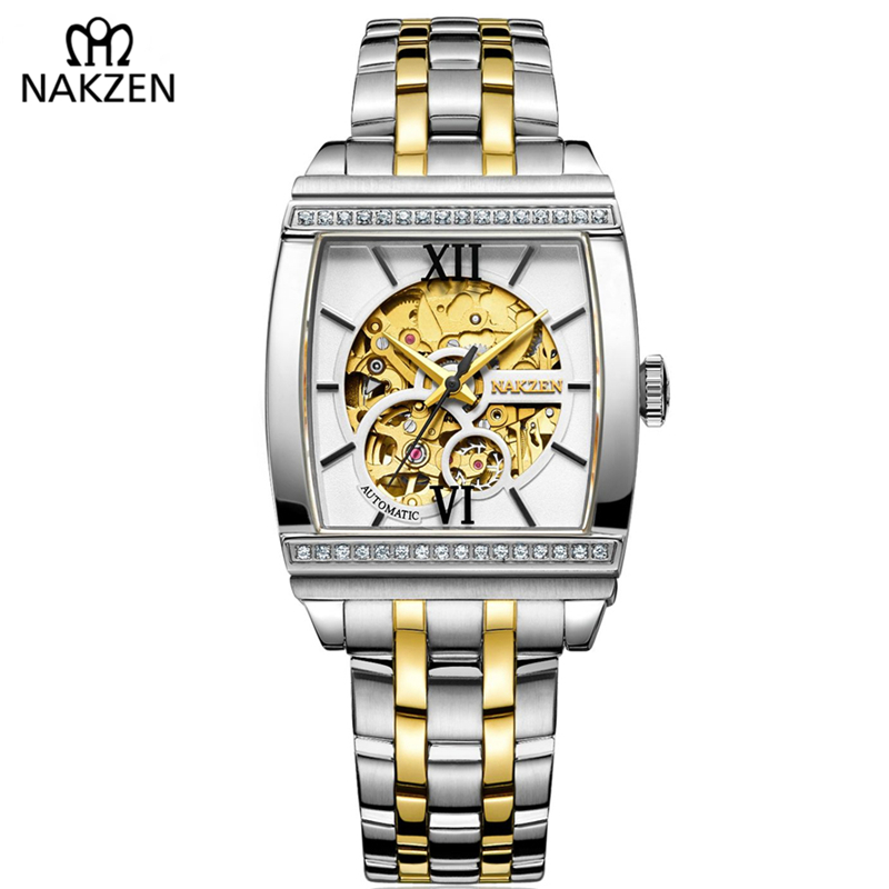 NAKZEN Top Luxury Brand Cool Stainless Waterproof Clock Men Hollow Gold Rectangle Watch Popular Stylish Automatic Watch Gift stylish golden hollow rounded rectangle hasp bracelet for women
