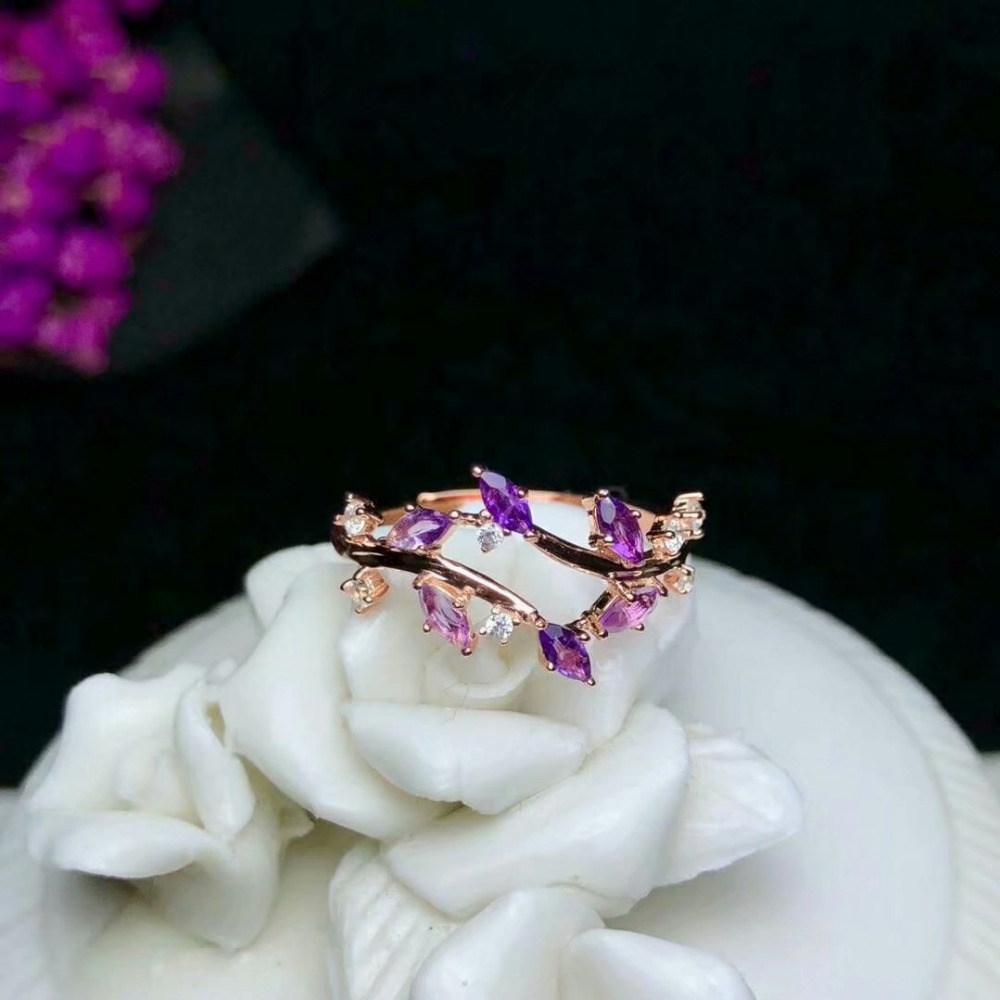 shilovem 925 sterling silver natural amethyst Ring fine Jewelry women trendy party open classic 2018 new