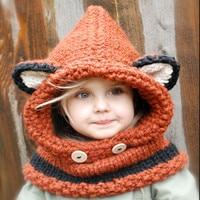 1-7 Years Baby Girls Hats Handmade Kids Winter Hats Wrap Fox Scarf Set Caps Cute Autumn Children Wool Knitted Hats