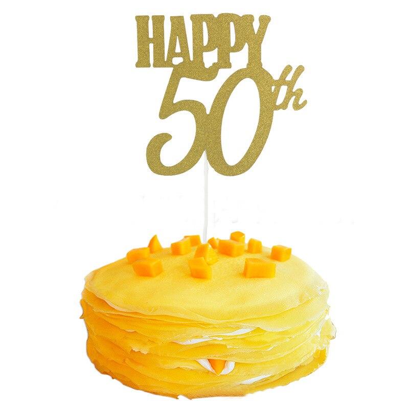 1PC Gold Happy 30th/40th/50th/60th Cake Topper For Cake Decor ...