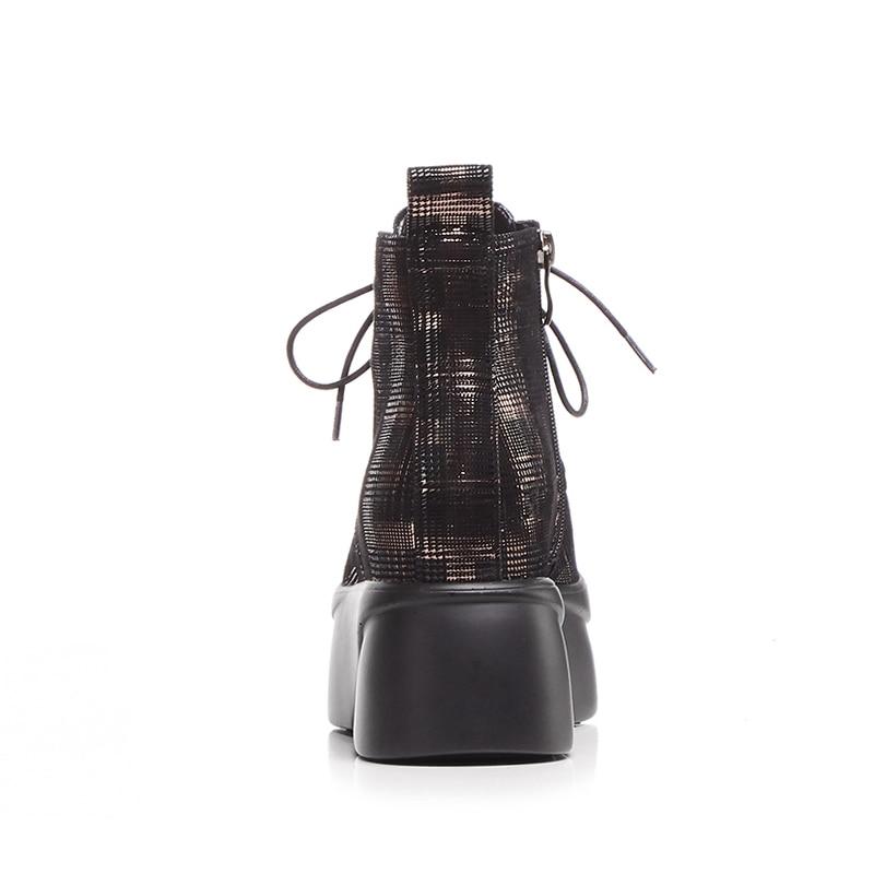 Botte forme Lacets Ascenseur Bout Impression black En 2018 Femmes Bottes Véritable De Wetkiss Plate Rond Chaussures Cuir À Noir Mode Automne Cheville 4R35LAj