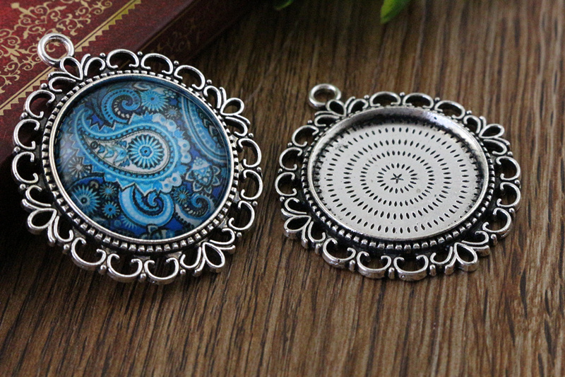 New Fashion  3pcs 25mm Inner Size Antique Silver Pierced Style Cabochon Base Setting Charms Pendant (A3-44)