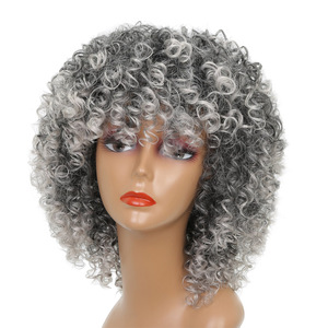 Image 5 - MERISI HAIR Short Curly Brown Blonde Gray Color Wigs For Black Women High Temperature Synthetic Hair