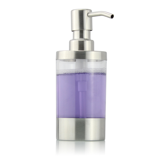 Liquid Soap Dispenser Pump Acrylic Bottle 304 Stainless Steel Brushed  Kitchen Bathroom Countertop Refillable Accessory 250ML