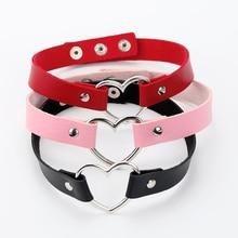 Gargantilla gótica minimalista de cuero con forma de corazón para mujer, Collar con cuello redondo, estilo Punk, rosa, rojo, negro, joyería Vintage para fiestas