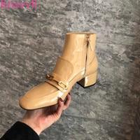 Knsvvli/осенние полусапожки из лакированной кожи с квадратным носком, женские ботинки «Мартенс», украшенные металлической цепочкой, женские б