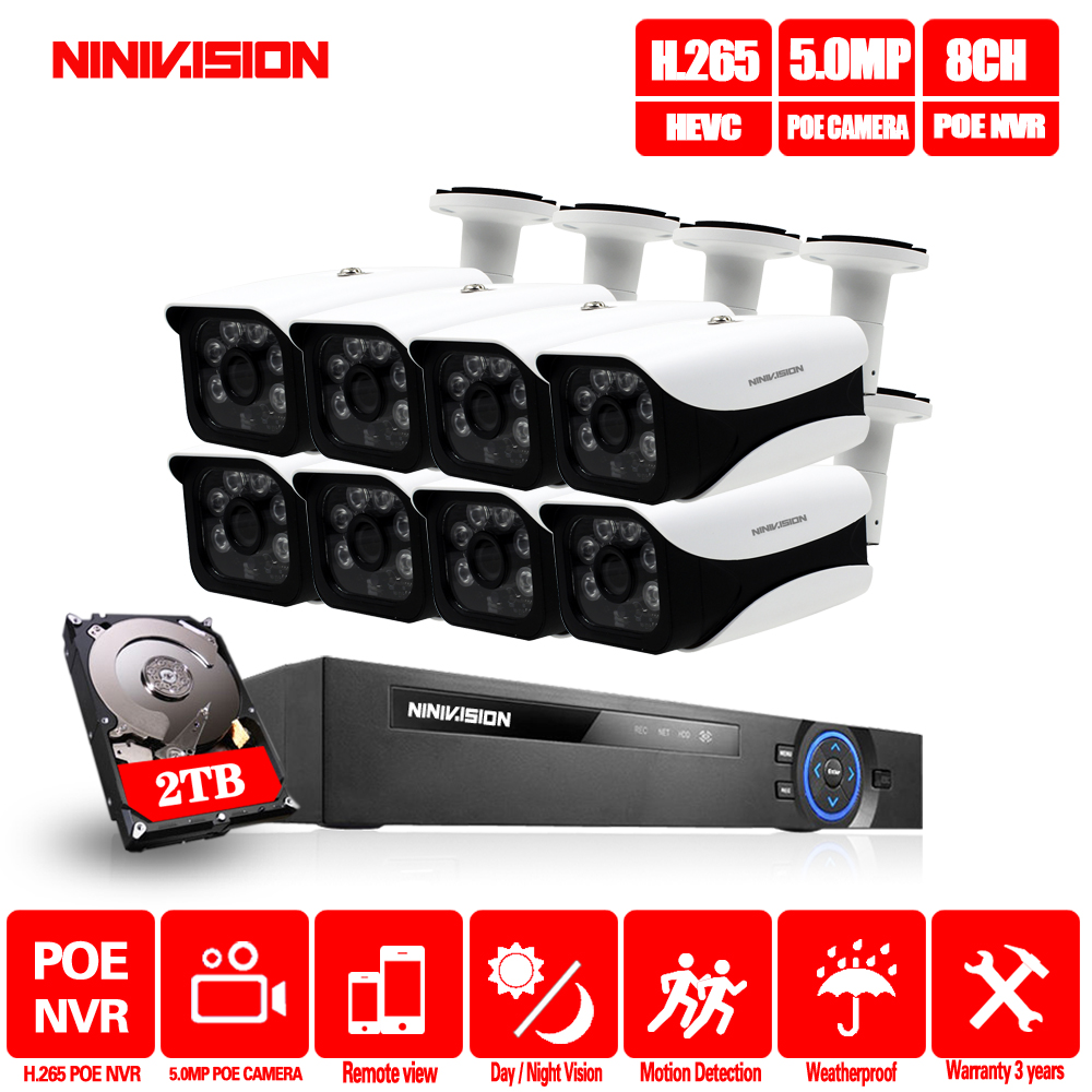 8CH H.265 5MP POE NVR CCTV Kit Sistema de câmera Ao Ar Livre À Prova D' Água Câmera IP POE kit de Vigilância de Vídeo em casa segurança