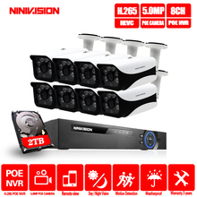 все цены на 8CH NVR 5MP POE CCTV camera System Kit H.265 Outdoor Waterproof IP Camera POE home security Video Surveillance kit онлайн