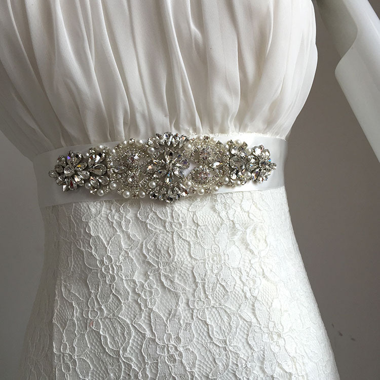 Hot Sale Cheap Women's Rhinestones Pearls Beads Handmade Belt Wedding Dress Belt Accessories Marriage Bridal Sashes