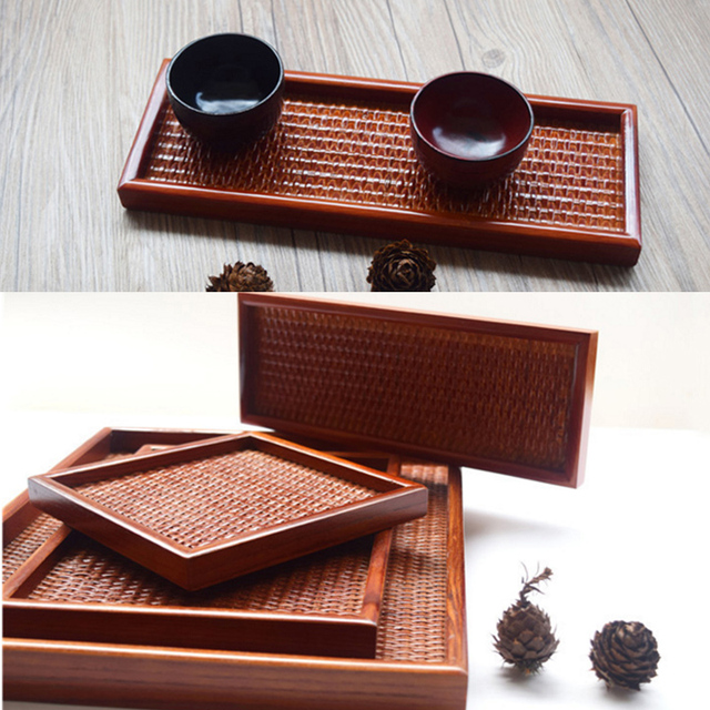 Traditional Chinese Rectangle Plate Manual Rattan Inside  Solid Wood Outside Food Tea Tray Tableware With Different Sizes