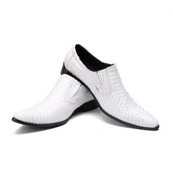 Men's white office shoes fashion pointed-toe dress shoes for men Genuine leather  falt Paisley oxford men size 38-46