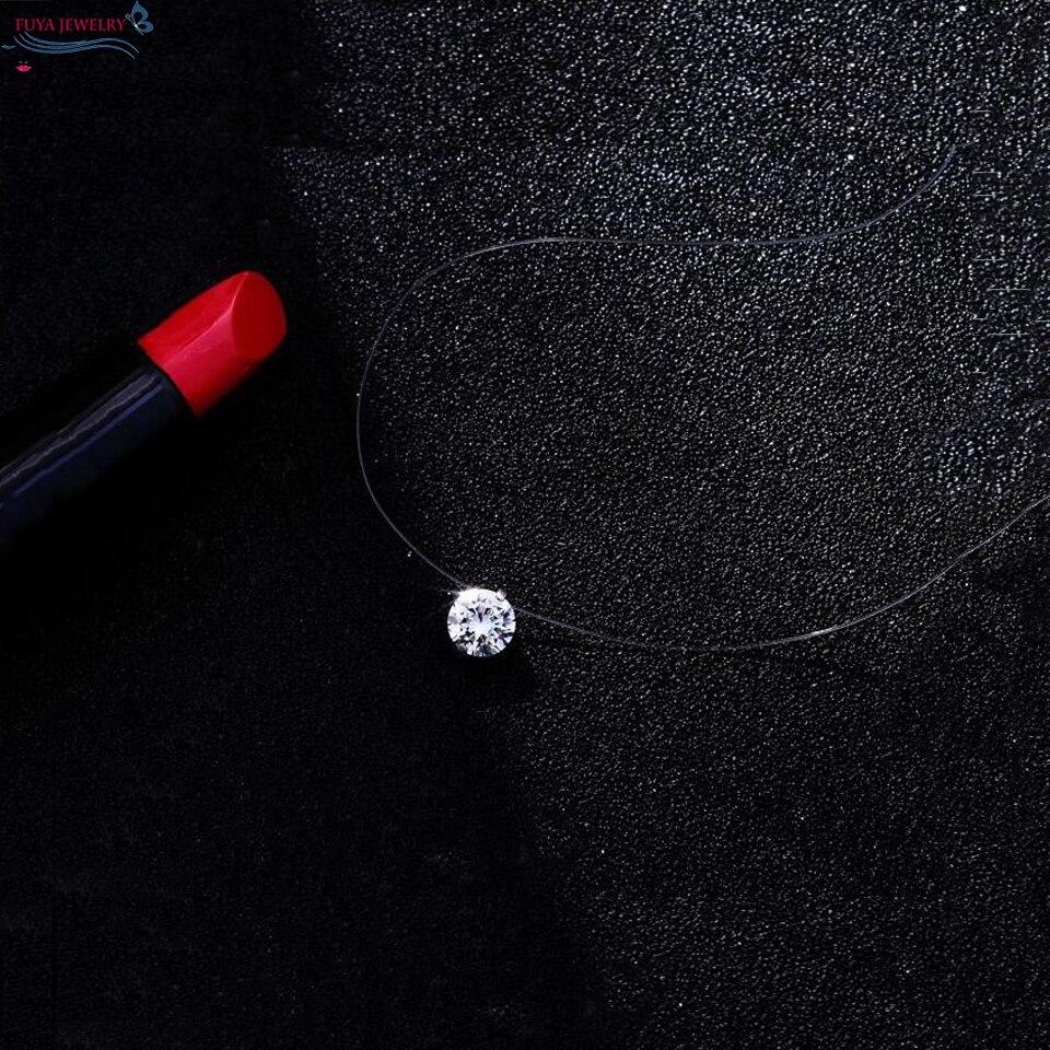 Fashion Femmes ligne de pêche Zircon Cristal Pendentif Clavicule Collier Bijoux