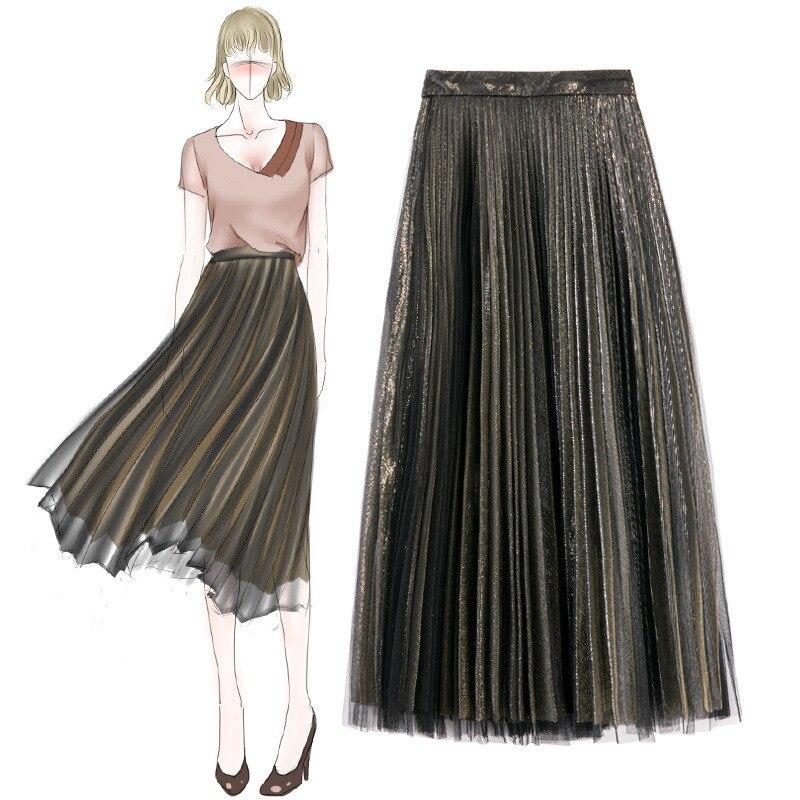 Spring Women Long Skirts Fashion Brand Women Pleated Skirts High Waist Women Midi Skirt Vintage Faldas Mujer Saias