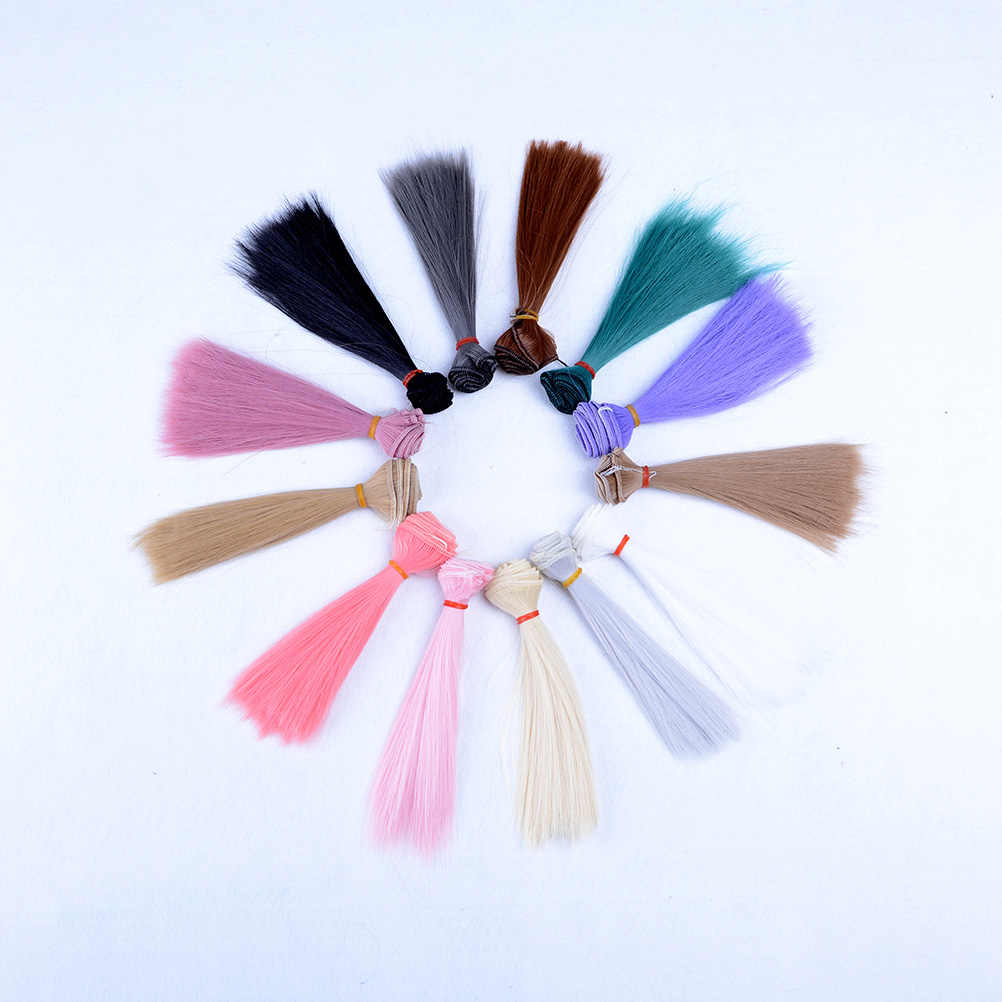Accesorios para muñecas de 15x100 cm peluca recta de fibra sintética para pelucas de muñecas Alambre de alta temperatura