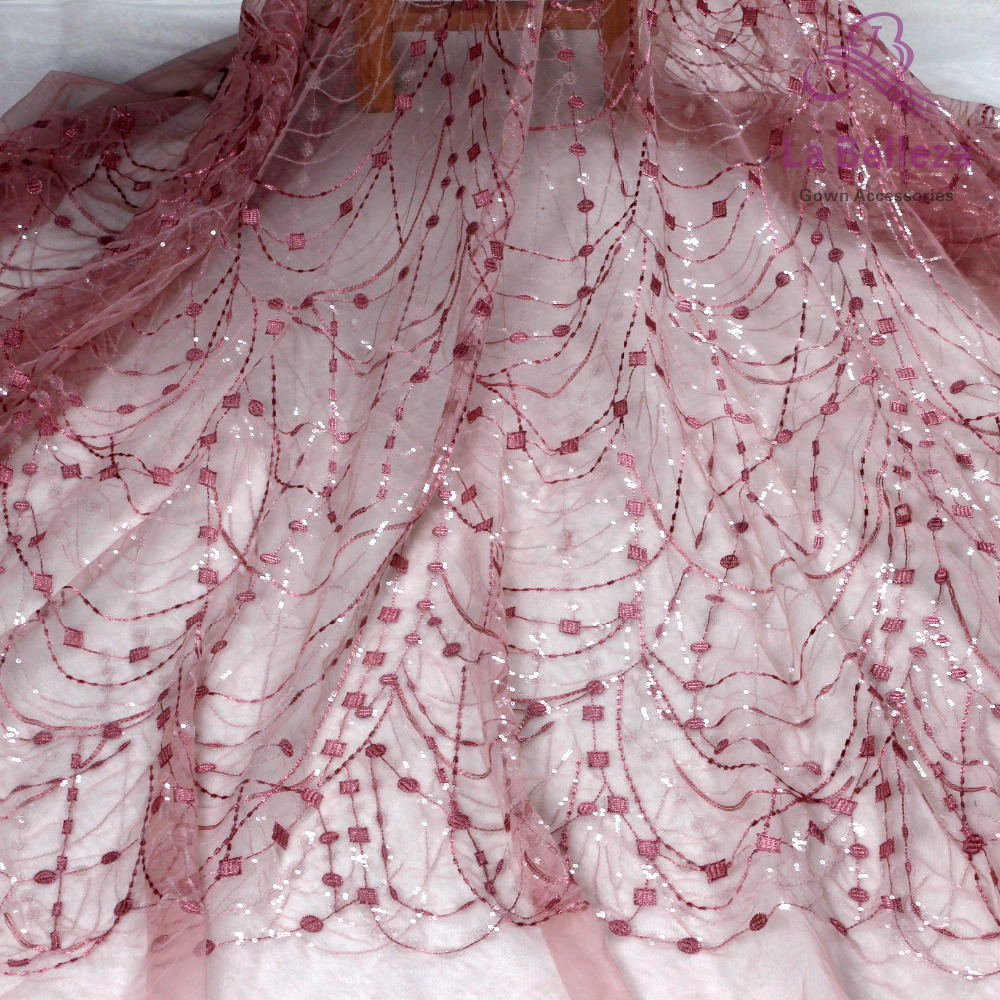 La Belleza Beautiful Pink/off White Simple Lines With Clear Shining Sequins On Mesh Embroidery Gown Lace Fabric  1 Yard