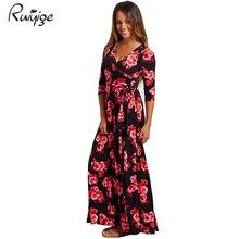 Фотография Ruiyige 2018 Women Summer Beach Boho Maxi Dress High Quality Brand Flower Printed Long Dresses Feminine Plus Size C