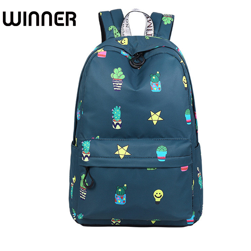Cute Waterproof Fabric Women Backpack Cactus Potted Plants Pattern Printing Large Capacity Girls Daypacks cactus cute cactus brooch
