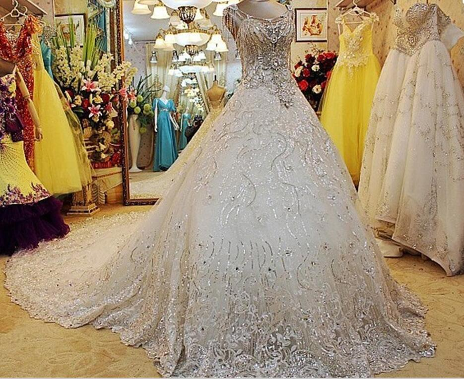 Ball Gown Wedding Dresses 2017 With Bling : Popular rhinestone wedding gowns buy cheap