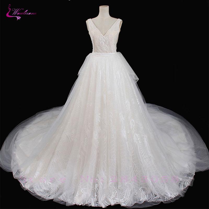 Waulizane Elegant Unique Lace A Line Wedding Dresses