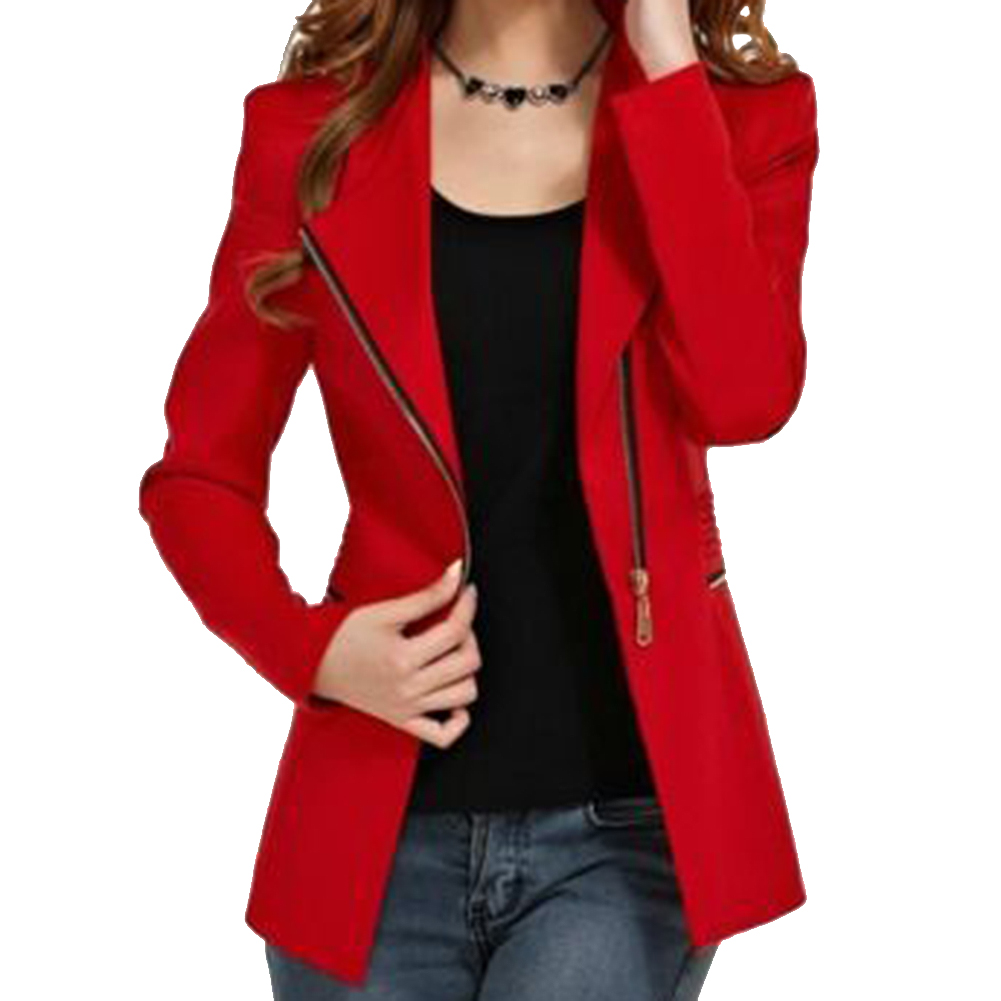 2017 NEW women's long-sleeve short winter jacket zipper jackets female coat woman's clothing outwear red 4 Size