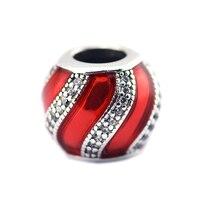 Granos adapta pandora charms pulseras de plata original 925 adorno translúcido esmalte rojo y claro cz granos del encanto para la joyería que hace