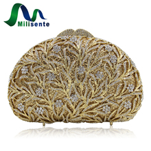 Milisente Women Evening Bags Silver Ladies Red Wedding Clutches Bag Gold Luxury Crystal Party Diamonds Purses