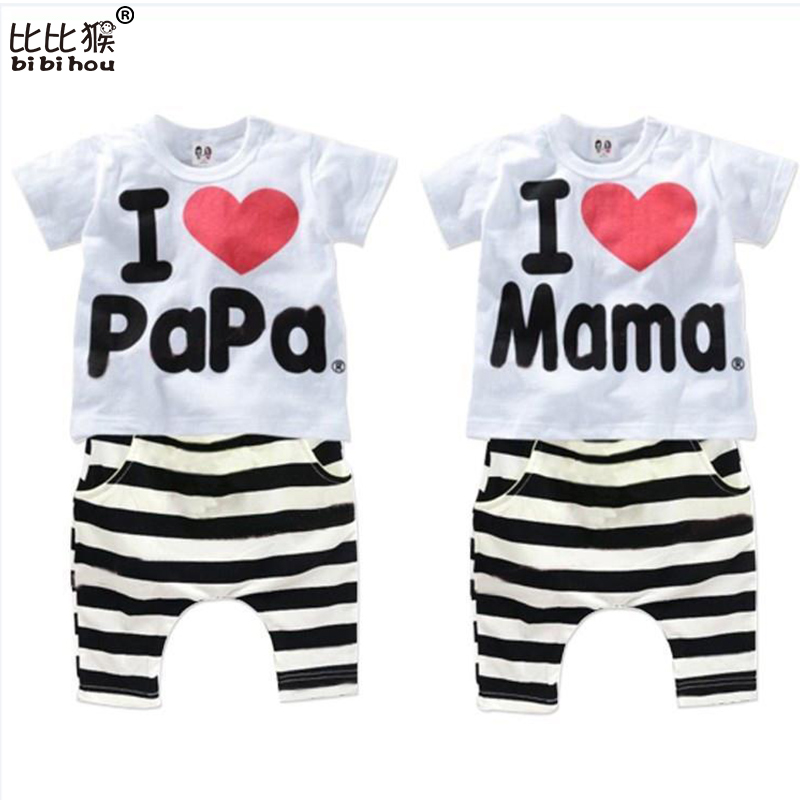 2016 New Summer Children Baby Clothing Sets Kids I love papa mama Clothes Suit  Boys Girls T shirt Striped Pants Pajamas Sets 2015 new arrive super league christmas outfit pajamas for boys kids children suit st 004