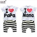2016 New Summer Children Baby Clothing Sets Kids I love papa mama Clothes Suit  Boys Girls T shirt Striped Pants Pajamas Sets