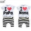 2016 Nuevos Niños Del Verano Ropa de Bebé Conjuntos Niños amo papá mama Ropa Traje Niños Niñas T camisa de Rayas Pantalones Pijamas Conjuntos