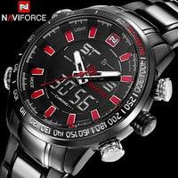 Men Sport Watches NAVIFORCE Brand Fashion Dual Display Watches LED Digital Watch Stainless Steel Gift Quartz