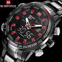 Erkekler Spor Saatler NAVIFORCE Marka Moda Çift Ekran Saatler LED Dijital İzle Paslanmaz Çelik Hediye Kuvars İzle Saatı