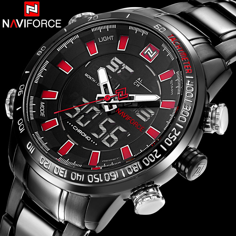 Men Sport Watches NAVIFORCE Brand Fashion Dual Display Watches LED Digital Watch Stainless Steel Gift Quartz Watch Wristwatches 80cm chain rome retro double display hollow pocket watch fob watches men necklace quartz watch men s watches grandpa letter gift