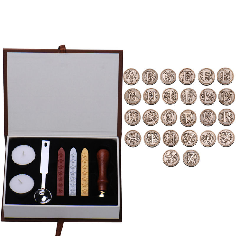 Personalized Harry Potter Hogwarts School Initial Letter Vintage Alphabet Wax Badge Seal Stamp w/Wax Kit Set Letter A-Z Optional sealing wax stamp set classic letter a z alphabet initial letter badge wax seal stamp w wax set new