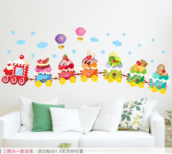 Online Shop Cartoon Ice Cream Train Wall Sticker Candy Wall Decal