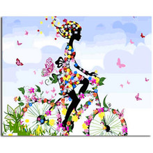 WEEN Paint by Numbers for Adults, DIY Canvas Painting Home Decoration-Flower Girl 40x50cm