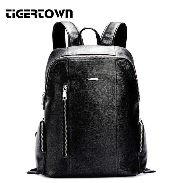 d9c736d65a TigerTown New Designer Men s Backpack Fashion High Quality Genuine cowhide  Real Leather Shoulder Bag Womens Solid Black Rucksack-in Backpacks from ...
