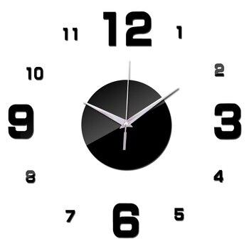 Nuovo design specchio acrilico fai da te orologi da parete digitale soggiorno parete della stanza adesivi autoadesivo della parete di stile moderno al quarzo ago orologi da parete