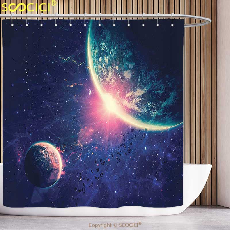 Fun Shower Curtain Galaxy Outer space Theme Planet Earth and Mars in Space Discovery of Universe Astronomy Art Navy Blue Pink
