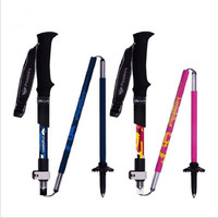 2Pcs Lot Carbon Fiber Anti Shock Telescopic Trail Poles Cane EVA Alpenstock Walking Stick Foldable And