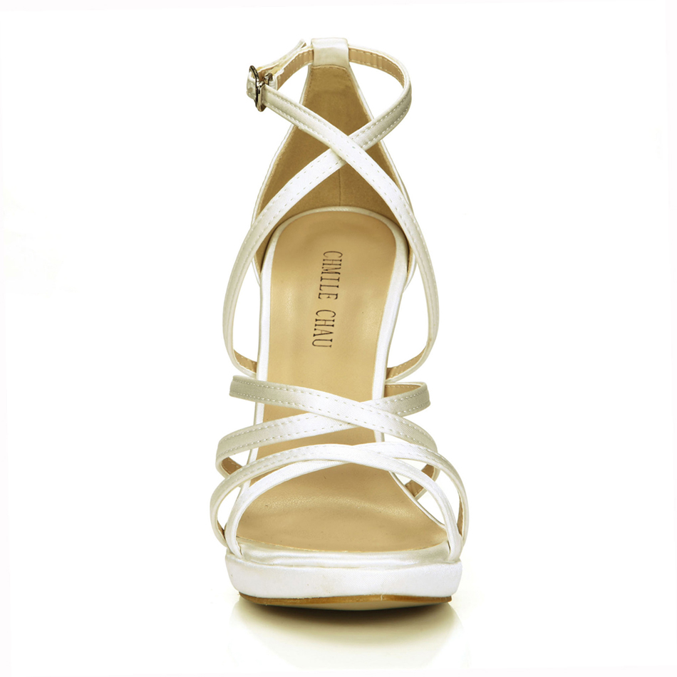 CHMILE CHAU Ivory Satin Sexy Bridal Women Shoes Stiletto High Heel  Gladiator Rome Ankle Strap Sandals Zapatos Mujer 0640A 4d-in High Heels  from Shoes on ... 8bb23c7d8f24
